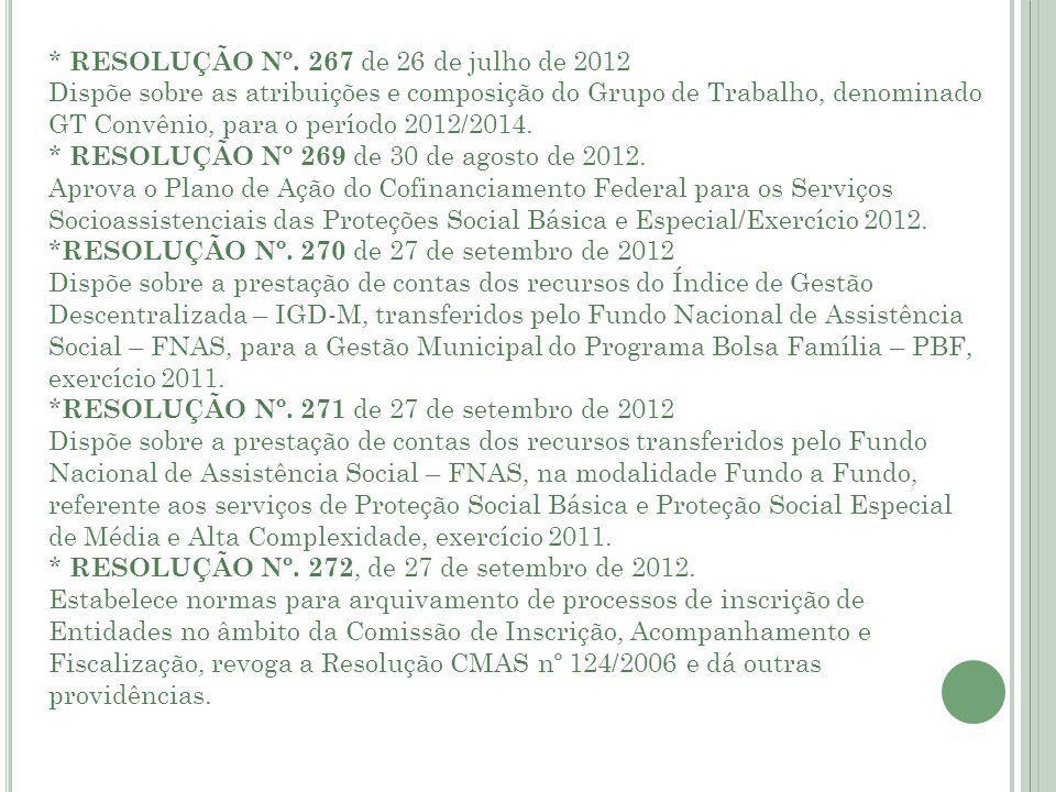 * RESOLUÇÃO Nº. 267 de 26 de julho de 2012