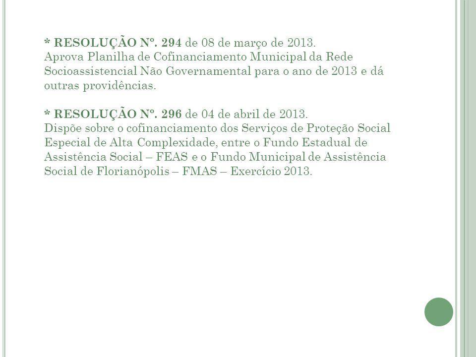 * RESOLUÇÃO Nº. 294 de 08 de março de 2013.