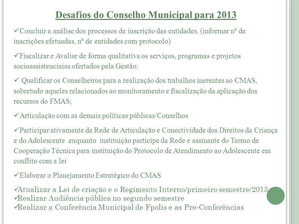 Desafios do Conselho Municipal para 2013