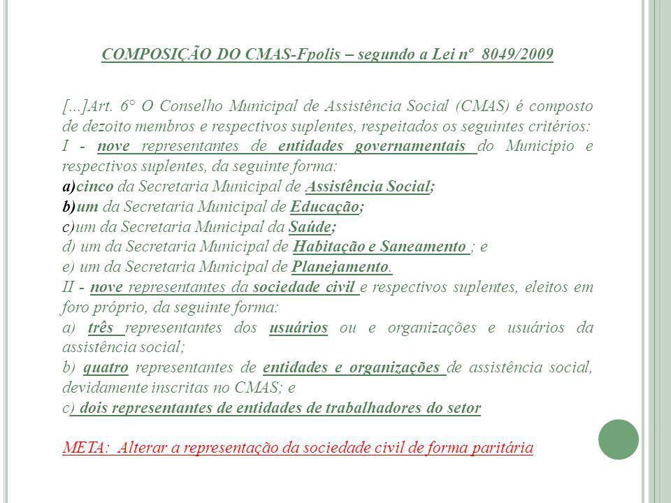 COMPOSIÇÃO DO CMAS-Fpolis – segundo a Lei nº 8049/2009