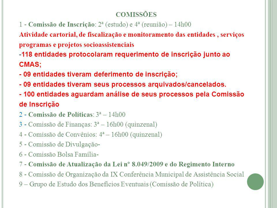 COMISSÕES 1 - Comissão de Inscrição: 2ª (estudo) e 4ª (reunião) – 14h00.