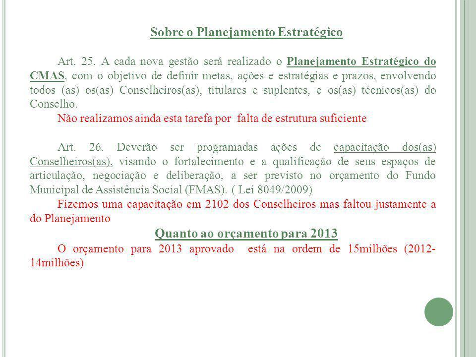 Sobre o Planejamento Estratégico Quanto ao orçamento para 2013