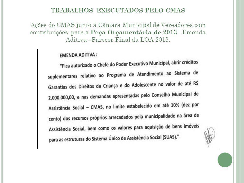 TRABALHOS EXECUTADOS PELO CMAS