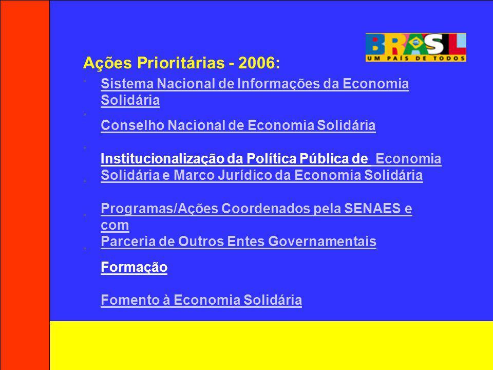 Ações Prioritárias - 2006: » Sistema Nacional de Informações da Economia Solidária. Conselho Nacional de Economia Solidária.