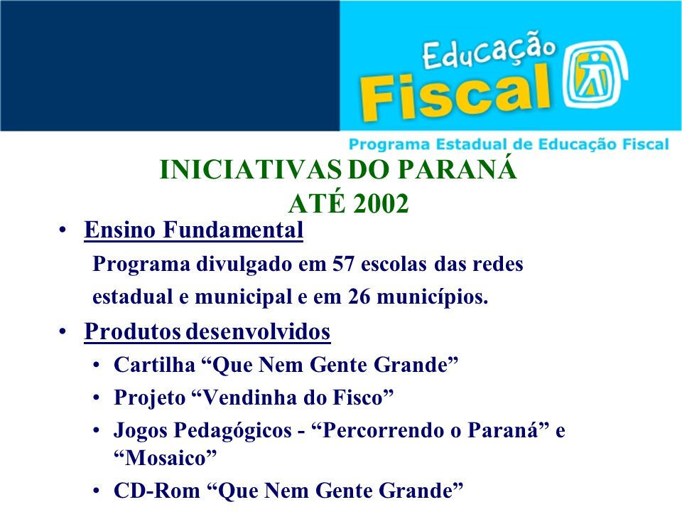 INICIATIVAS DO PARANÁ ATÉ 2002