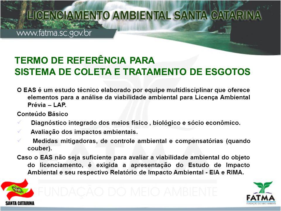 TERMO DE REFERÊNCIA PARA SISTEMA DE COLETA E TRATAMENTO DE ESGOTOS