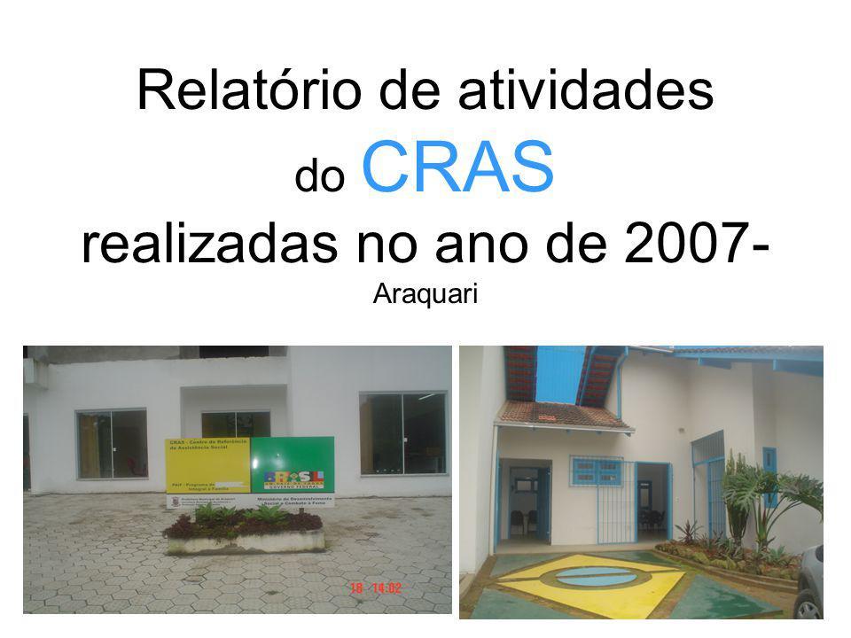 Relatório de atividades do CRAS realizadas no ano de 2007- Araquari