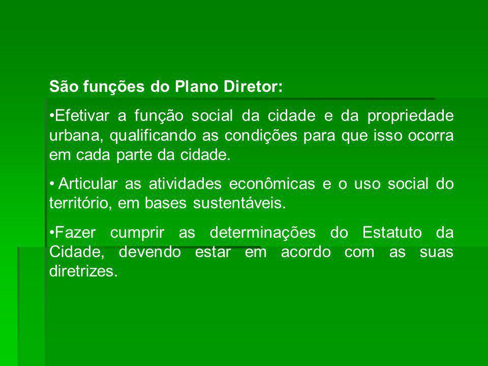 São funções do Plano Diretor: