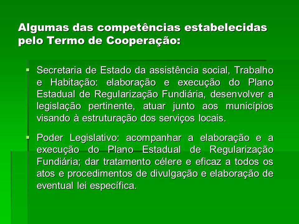 Algumas das competências estabelecidas pelo Termo de Cooperação:
