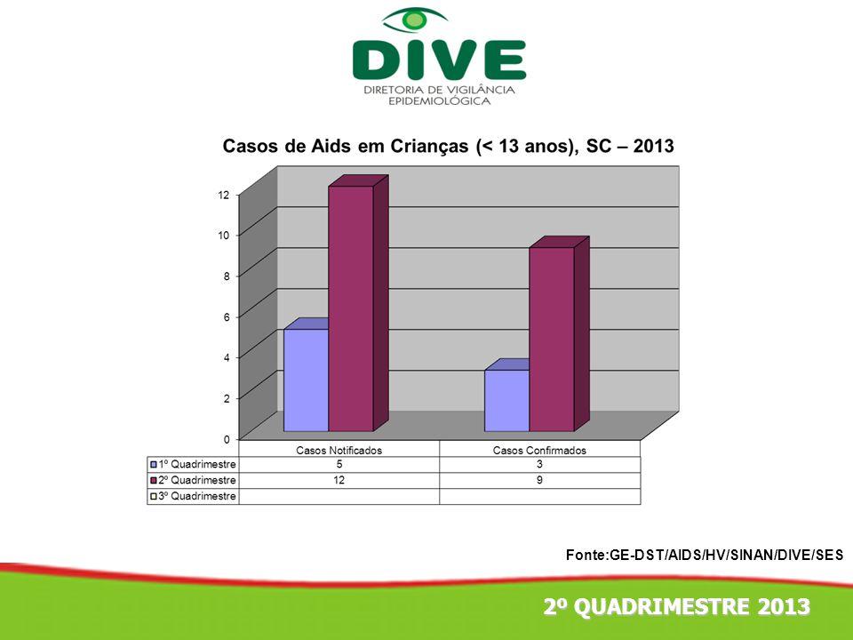 Fonte:GE-DST/AIDS/HV/SINAN/DIVE/SES