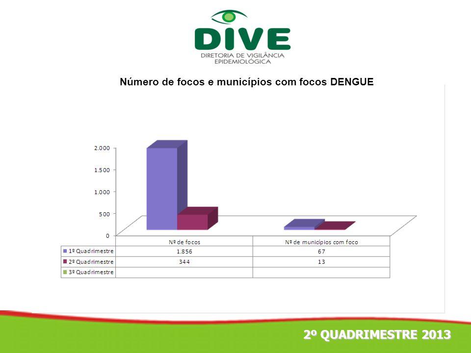 Número de focos e municípios com focos DENGUE
