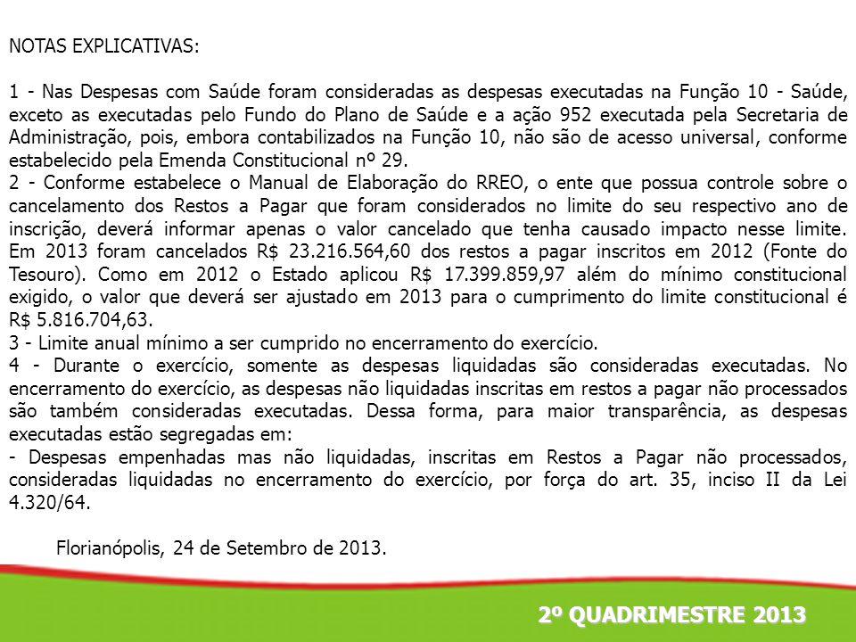 2º QUADRIMESTRE 2013 NOTAS EXPLICATIVAS: