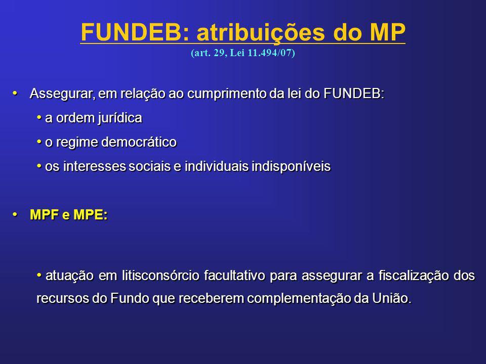 FUNDEB: atribuições do MP (art. 29, Lei 11.494/07)