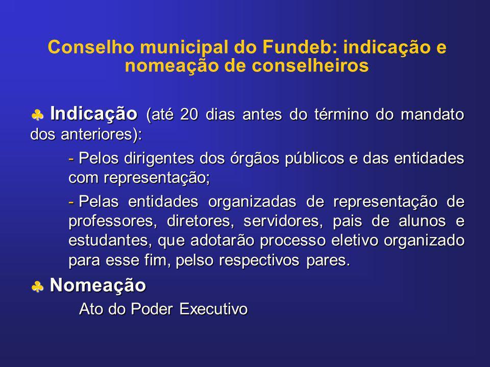 Conselho municipal do Fundeb: indicação e nomeação de conselheiros