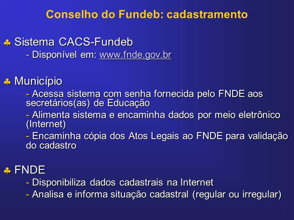 Conselho do Fundeb: cadastramento