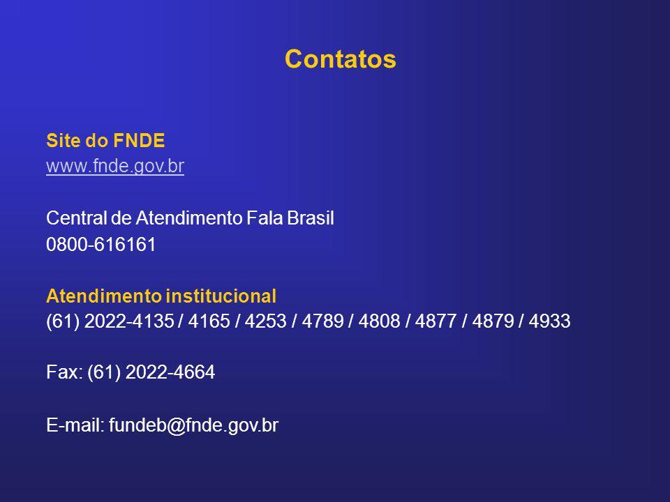 Contatos Site do FNDE www.fnde.gov.br