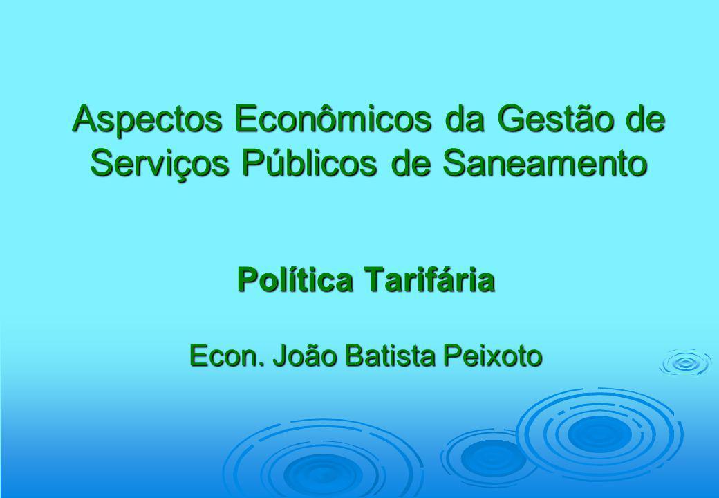 Aspectos Econômicos da Gestão de Serviços Públicos de Saneamento