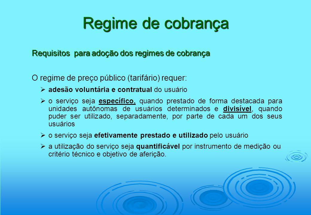 Regime de cobrança Requisitos para adoção dos regimes de cobrança