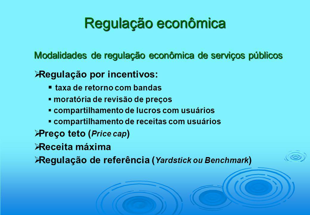 Regulação econômica Modalidades de regulação econômica de serviços públicos. Regulação por incentivos: