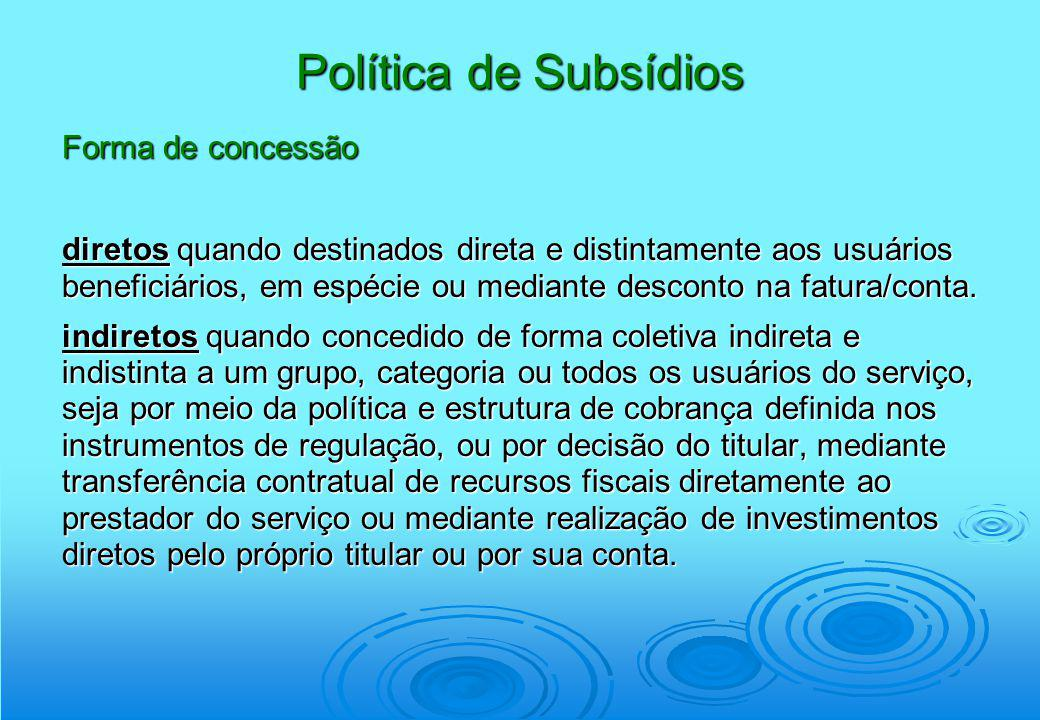 Política de Subsídios Forma de concessão