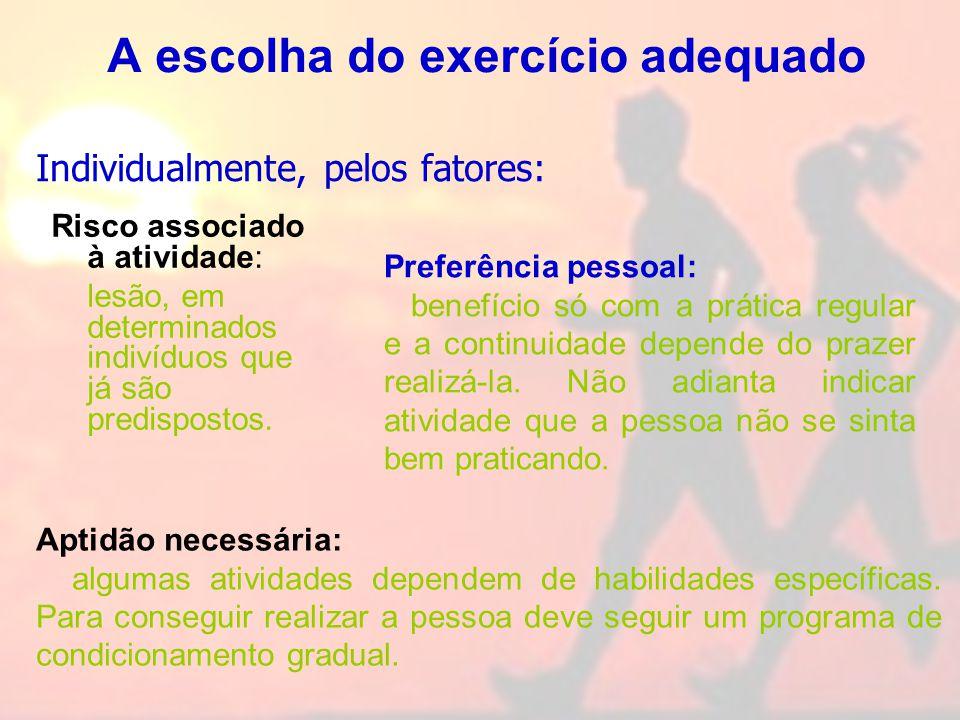 A escolha do exercício adequado