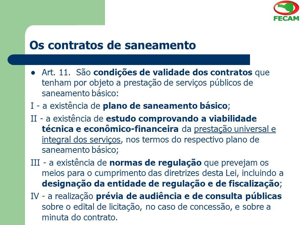 Os contratos de saneamento
