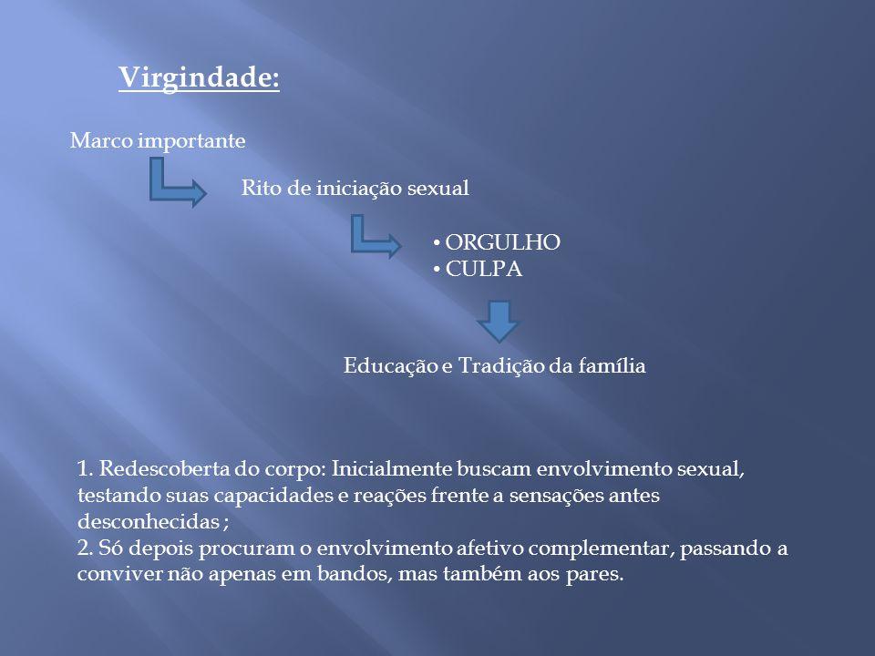 Virgindade: Marco importante Rito de iniciação sexual ORGULHO CULPA