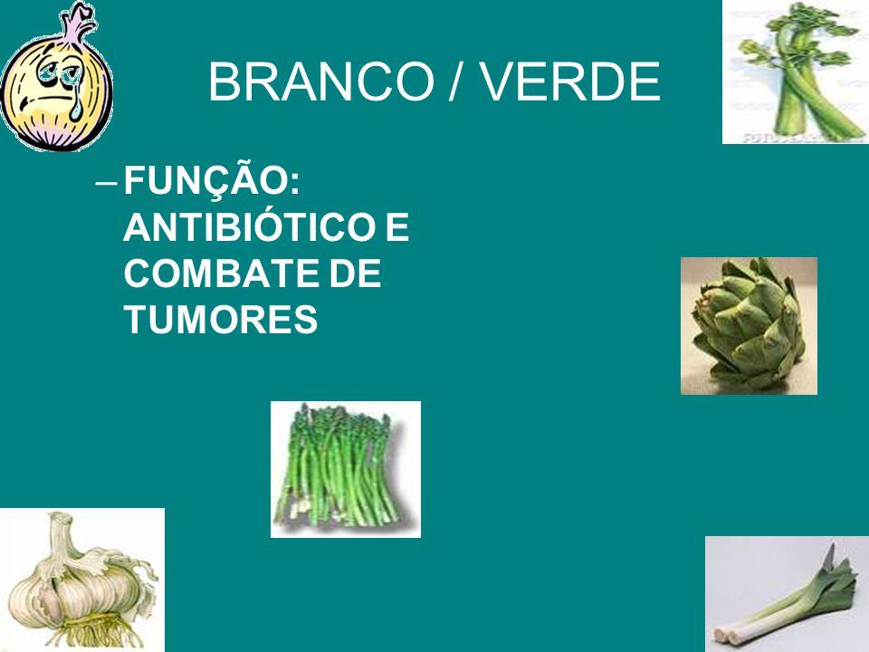 BRANCO / VERDE FUNÇÃO: ANTIBIÓTICO E COMBATE DE TUMORES