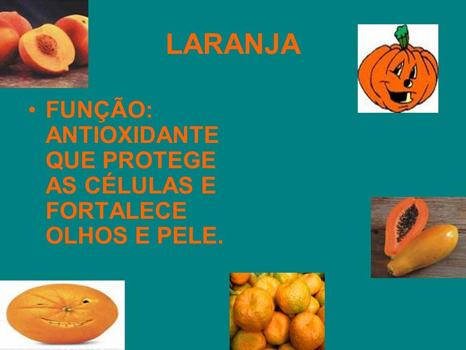 LARANJA FUNÇÃO: ANTIOXIDANTE QUE PROTEGE AS CÉLULAS E FORTALECE OLHOS E PELE.