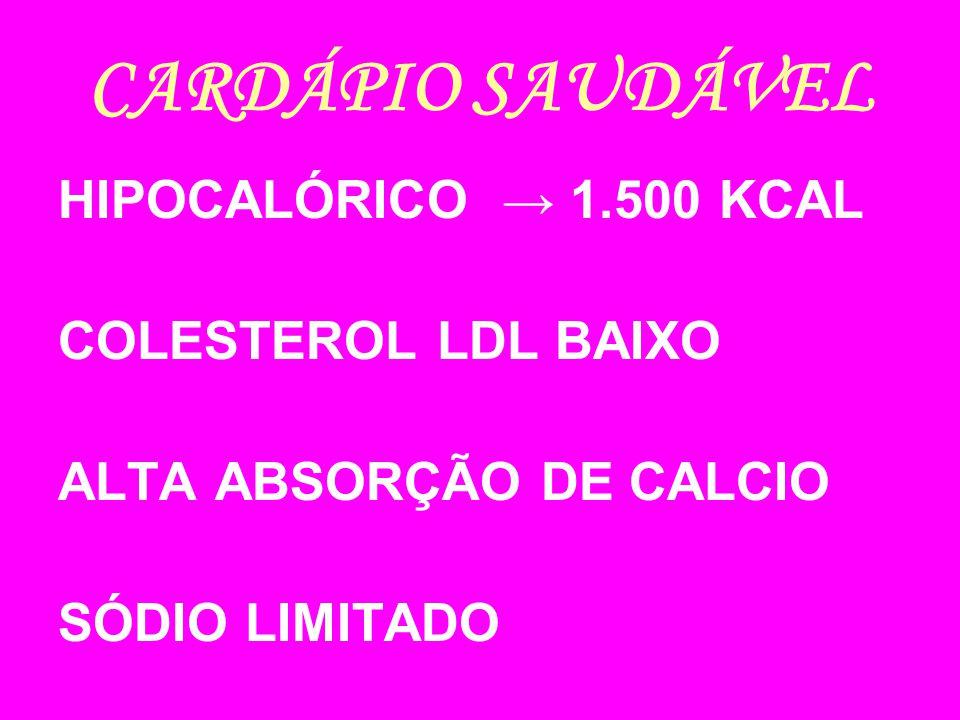 CARDÁPIO SAUDÁVEL HIPOCALÓRICO → 1.500 KCAL COLESTEROL LDL BAIXO