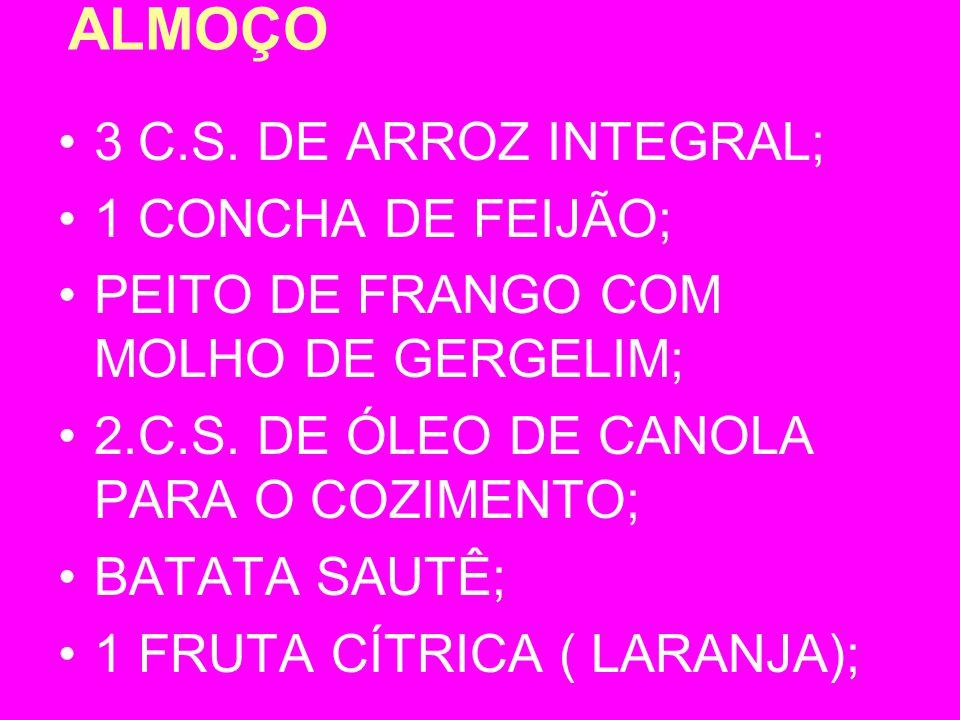 ALMOÇO 3 C.S. DE ARROZ INTEGRAL; 1 CONCHA DE FEIJÃO;