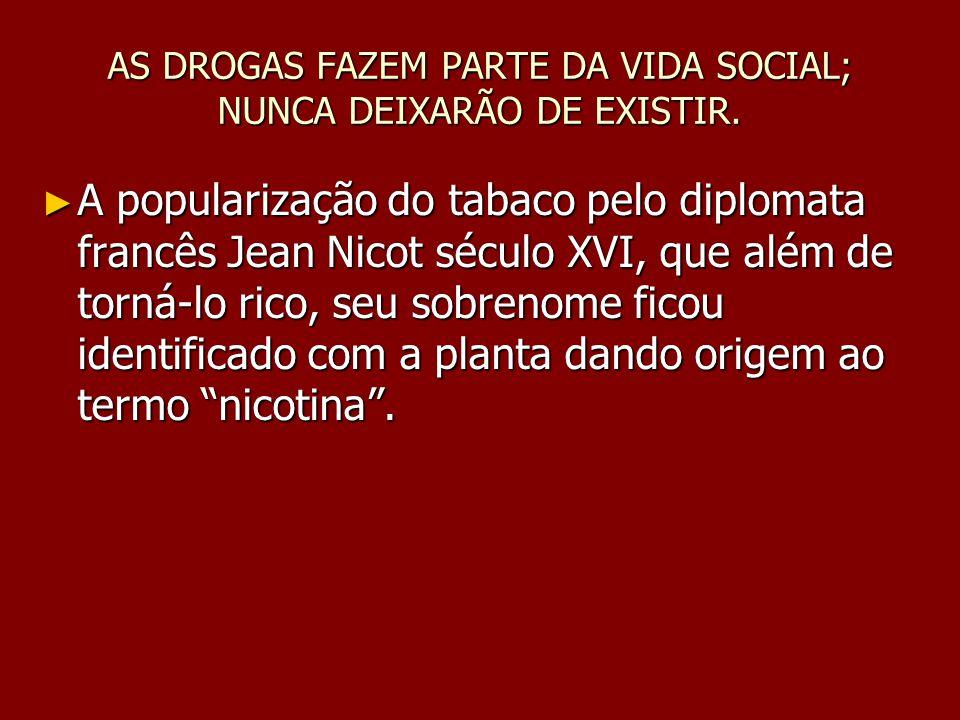 AS DROGAS FAZEM PARTE DA VIDA SOCIAL; NUNCA DEIXARÃO DE EXISTIR.