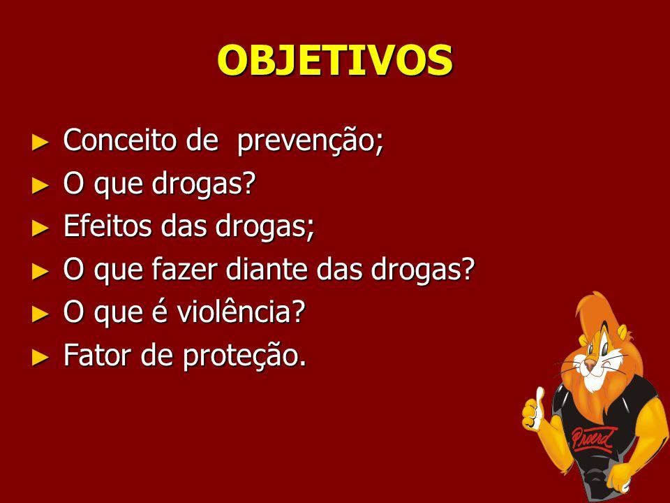 OBJETIVOS Conceito de prevenção; O que drogas Efeitos das drogas;
