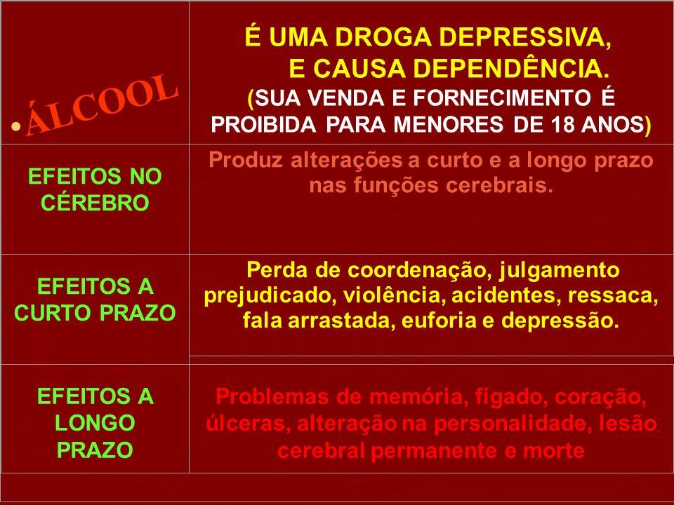 ÁLCOOL É UMA DROGA DEPRESSIVA, E CAUSA DEPENDÊNCIA.