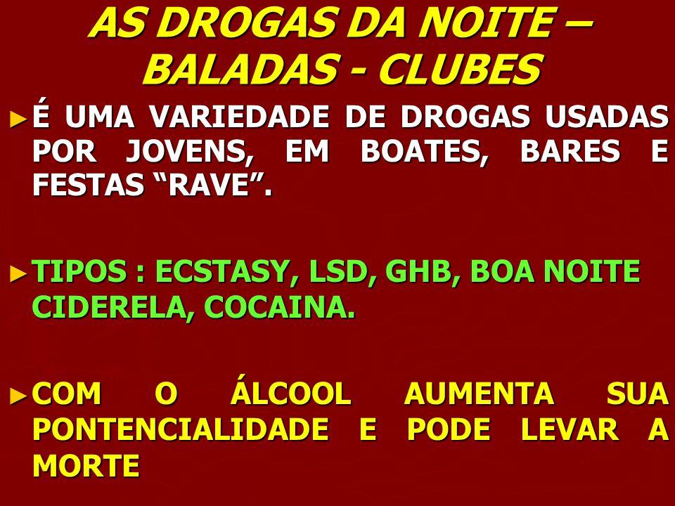 AS DROGAS DA NOITE – BALADAS - CLUBES