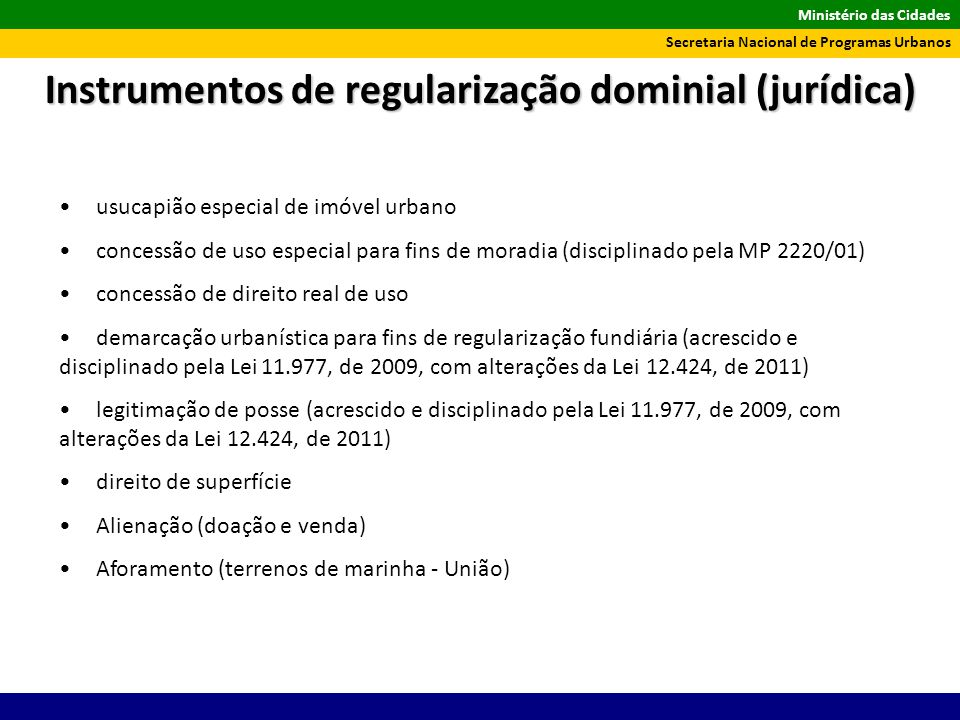 Instrumentos de regularização dominial (jurídica)