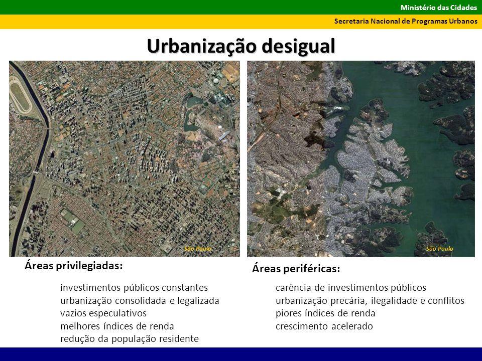 Urbanização desigual Áreas privilegiadas: Áreas periféricas: