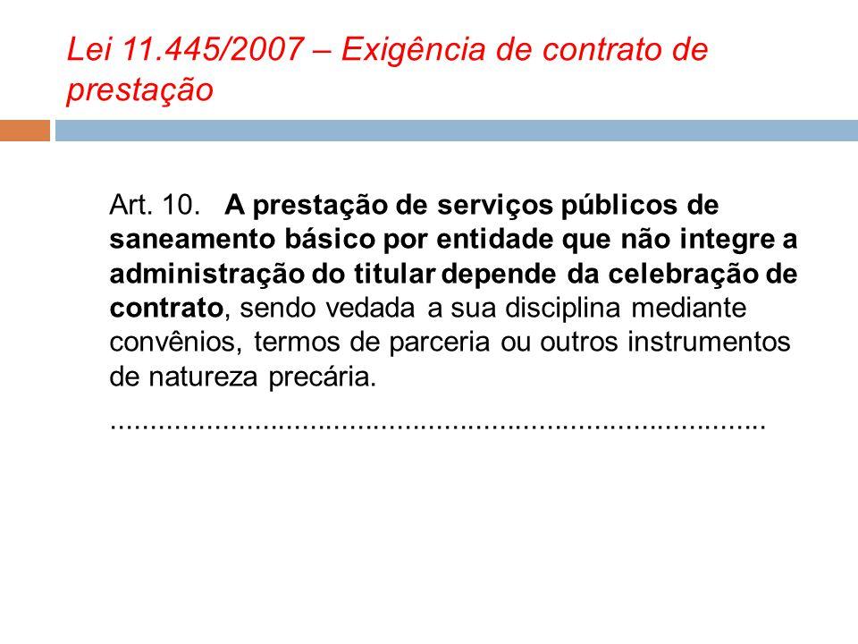 Lei 11.445/2007 – Exigência de contrato de prestação
