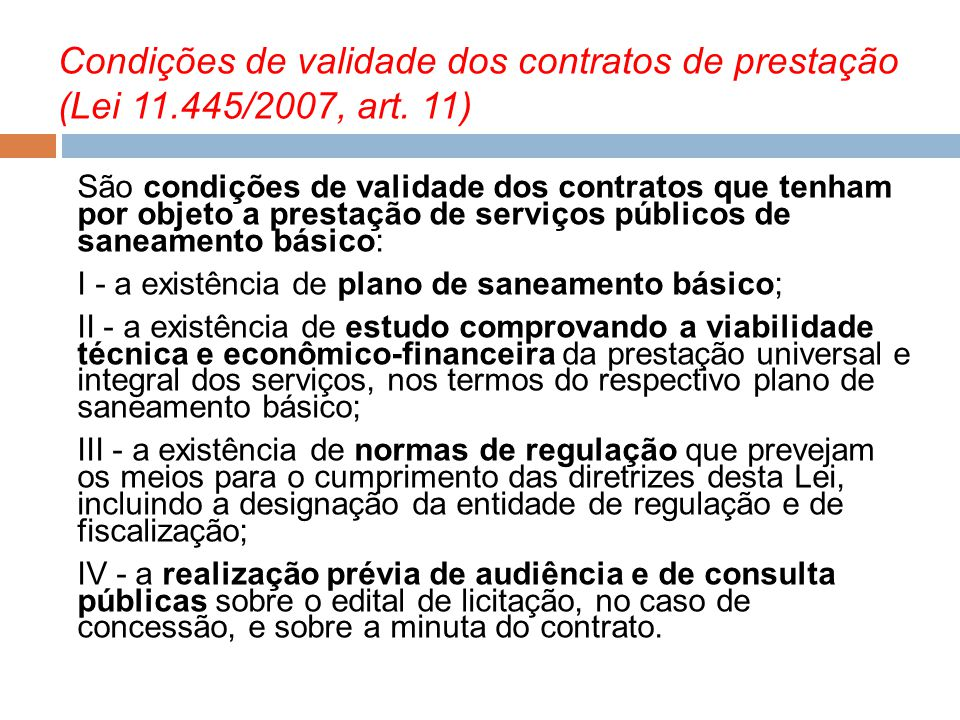 Condições de validade dos contratos de prestação (Lei 11.445/2007, art. 11)