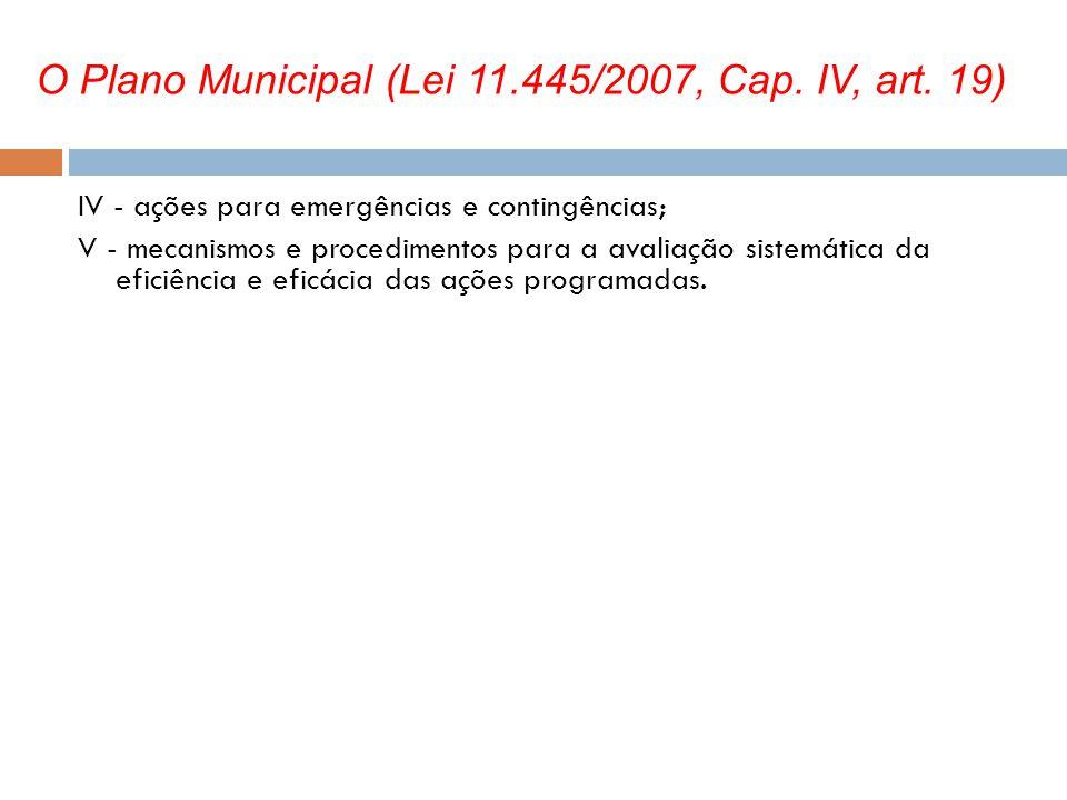 O Plano Municipal (Lei 11.445/2007, Cap. IV, art. 19)