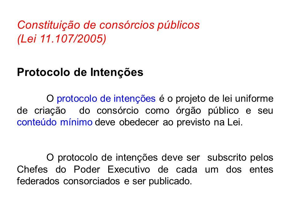 Constituição de consórcios públicos (Lei 11.107/2005)