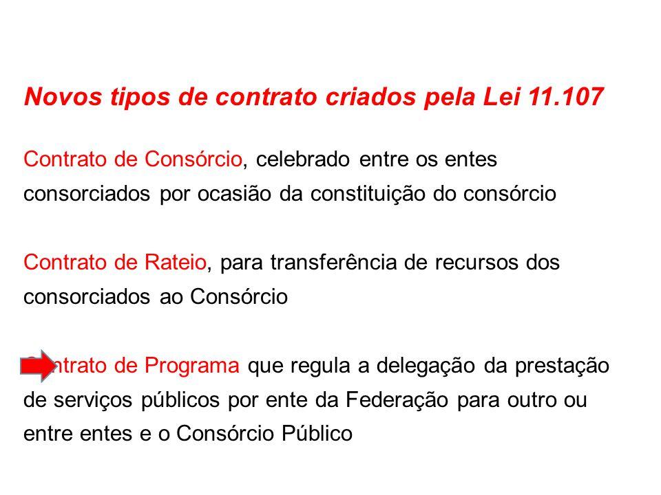 Novos tipos de contrato criados pela Lei 11.107
