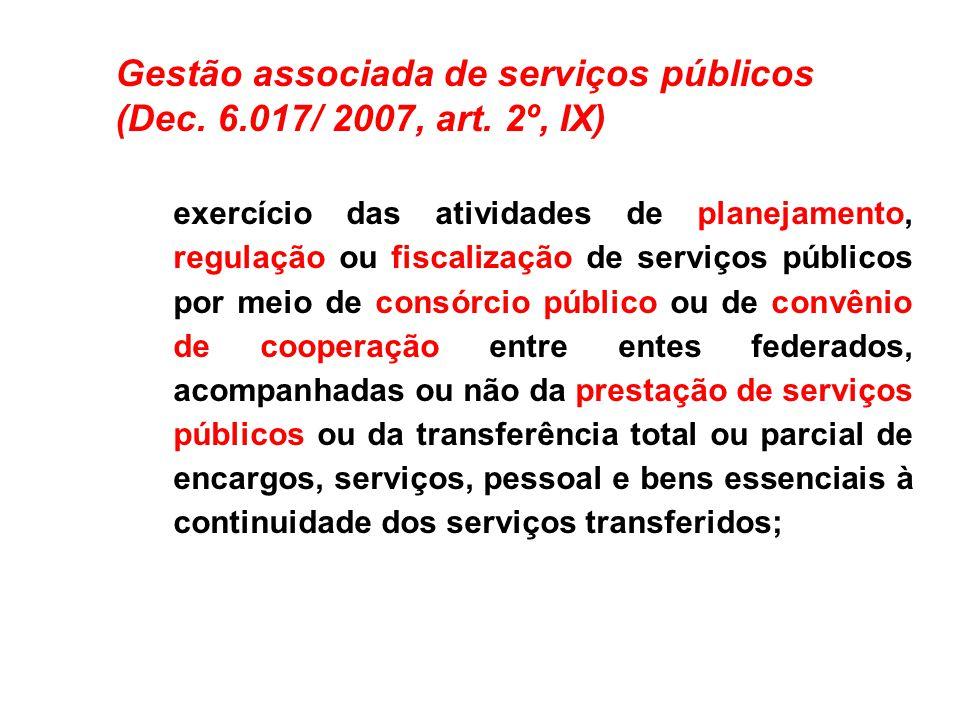 Gestão associada de serviços públicos (Dec. 6.017/ 2007, art. 2º, IX)