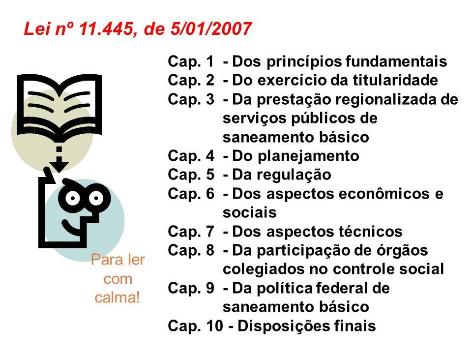Lei nº 11.445, de 5/01/2007 Cap. 1 - Dos princípios fundamentais