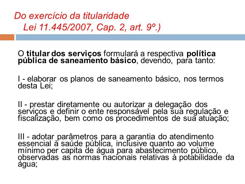 Do exercício da titularidade Lei 11.445/2007, Cap. 2, art. 9º.)