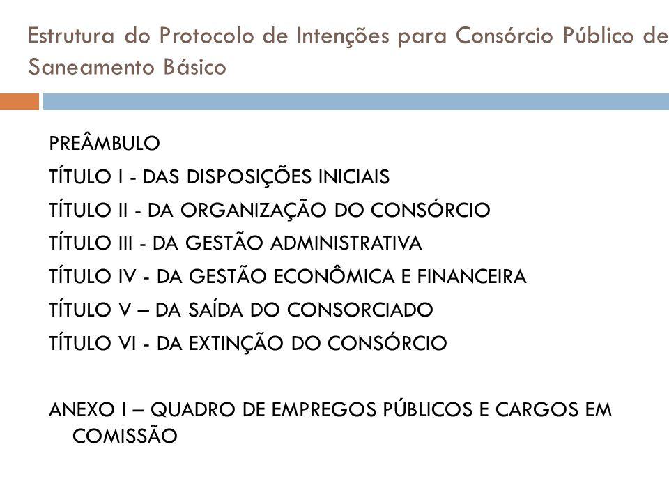 Estrutura do Protocolo de Intenções para Consórcio Público de Saneamento Básico