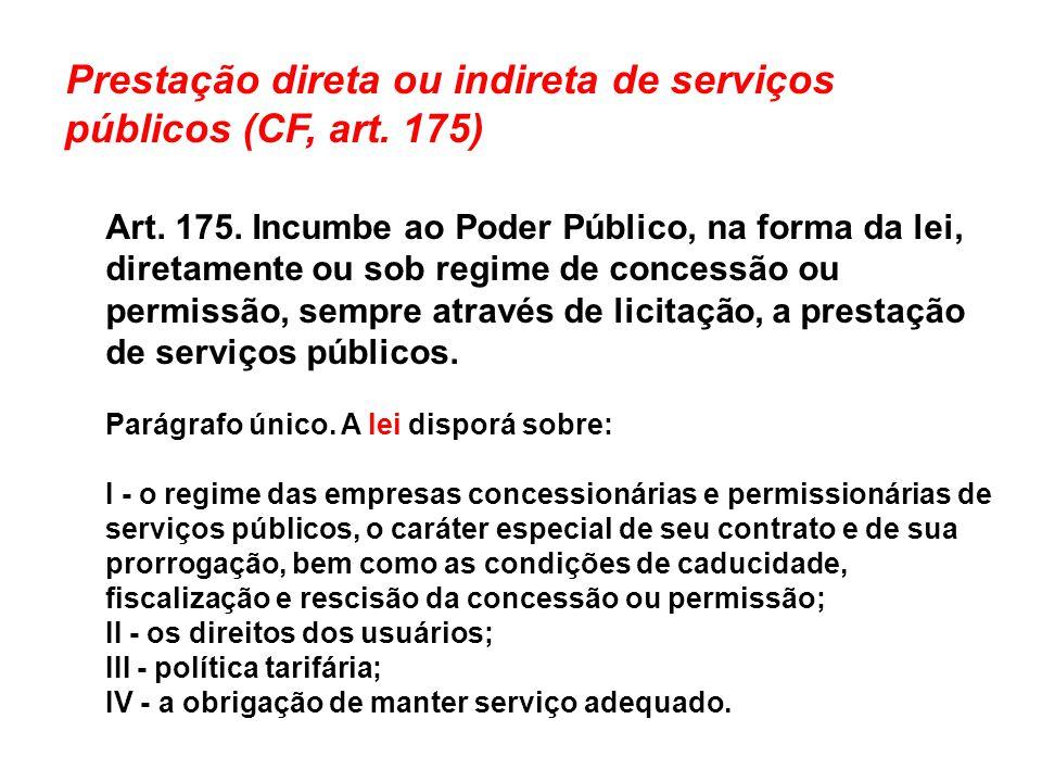 Prestação direta ou indireta de serviços públicos (CF, art. 175)