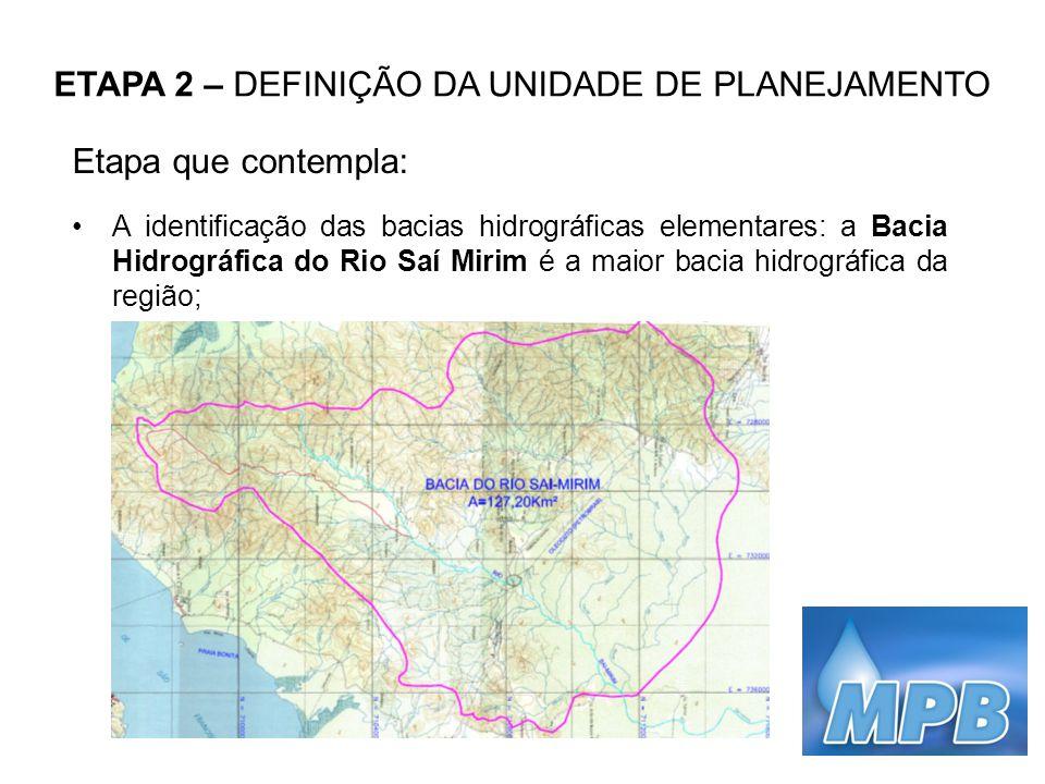 ETAPA 2 – DEFINIÇÃO DA UNIDADE DE PLANEJAMENTO