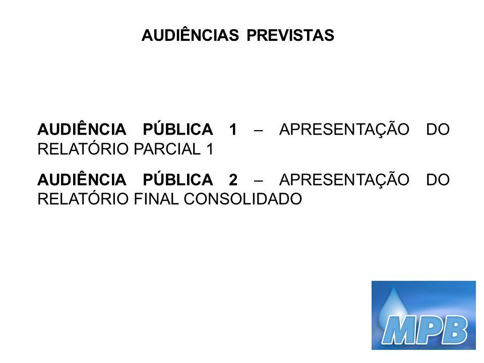 AUDIÊNCIAS PREVISTAS AUDIÊNCIA PÚBLICA 1 – APRESENTAÇÃO DO RELATÓRIO PARCIAL 1.