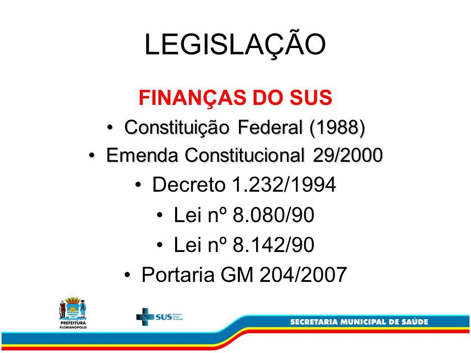 LEGISLAÇÃO FINANÇAS DO SUS Decreto 1.232/1994 Lei nº 8.080/90